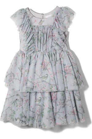 MONNALISA Girls Printed Dresses - Floral print ruffled tiered dress