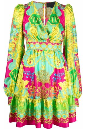Philipp Plein Women Party Dresses - Baroque-print empire dress