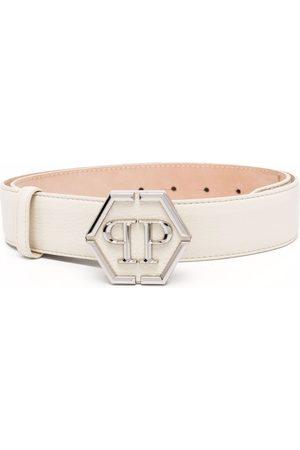 Philipp Plein Women Belts - Logo-plaque leather belt
