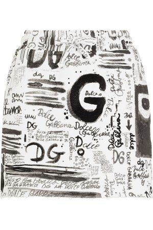 Dolce & Gabbana Women Printed Skirts - All over logo-print mini skirt