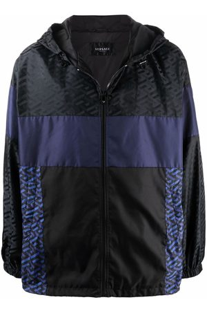 VERSACE Men Sports Jackets - Panelled logo-print track jacket