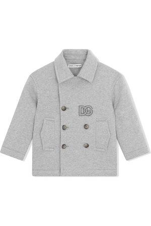 Dolce & Gabbana Boys Coats - Double-breasted logo-patch coat