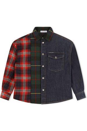 Dolce & Gabbana Check-panelled denim shirt