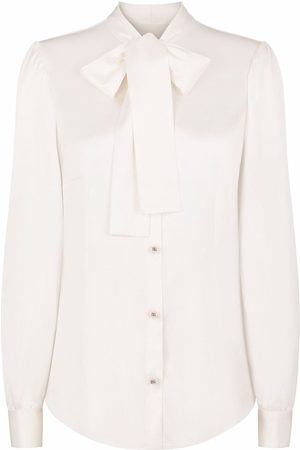 Dolce & Gabbana Women Blouses - Pussy-bow stretch-silk blouse