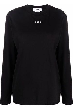 Msgm Women Long Sleeve - Logo-print long-sleeve T-shirt