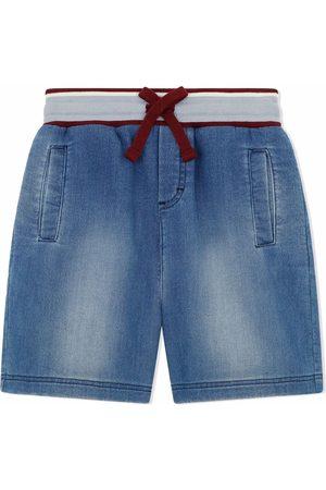 Dolce & Gabbana Boys Shorts - Logo-patch drawstring-waist denim shorts