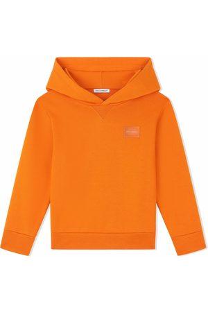 Dolce & Gabbana Boys Hoodies - Cotton logo-plaque hoodie
