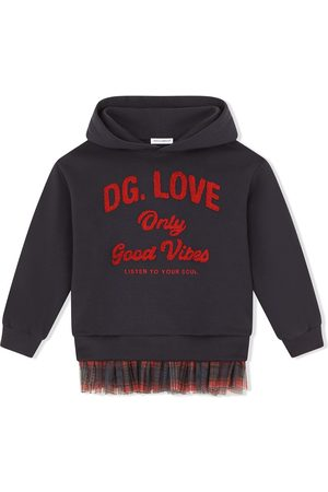 Dolce & Gabbana Girls Hoodies - Tartan-trim stretch-cotton hoodie