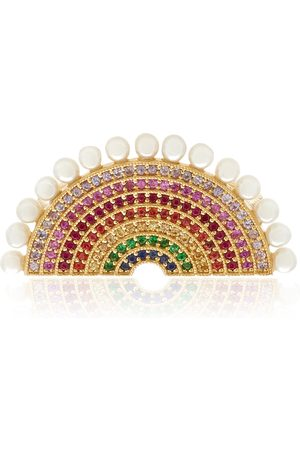 ROSA DE LA CRUZ Women's Rainbow 18k Gold Pearl Diamond and Multi-Gemstone Ring