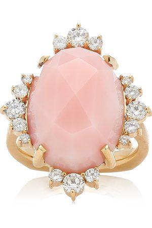 Kathryn Elyse Women's Halo 14K Yellow Gold Opal and Diamond Ring