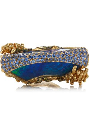 WENDY YUE Women's Lattice Fan 18K Yellow Gold Multi-Stone Ring