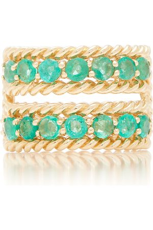 The Last Line Women's Emerald Two-Row Twist Ring