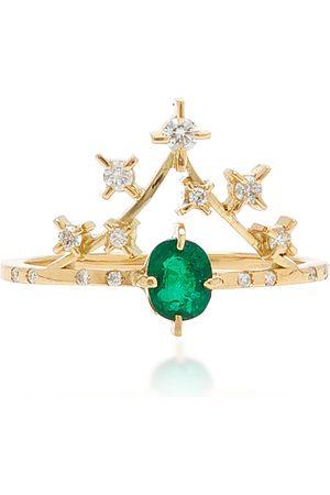 Olsen Women's Sparkle 18K Yellow Gold Emerald; Diamond Ring