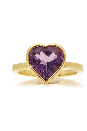 Katey Walker Women's Large Heart 18K Gold and Amethyst Ring