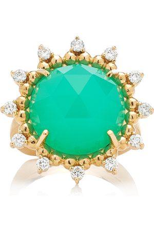 Kathryn Elyse Women's Sunburst 14K Yellow Gold Chrysoprase and Diamond Ring