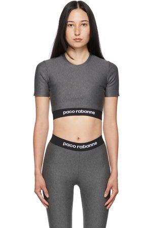 Women Sports T-shirts - Paco Rabanne Grey Cropped Logo Sports T-Shirt