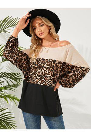 YOINS Multicolor Leopard One Shoulder Long Sleeves Tee