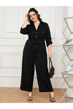YOINS Plus Size Notch Collar Belt Design Front Button Long Sleeves Jumpsuit