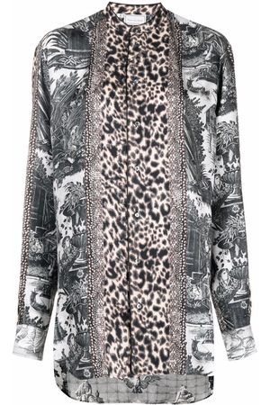 PIERRE-LOUIS MASCIA Aloe panelled long-sleeve silk shirt