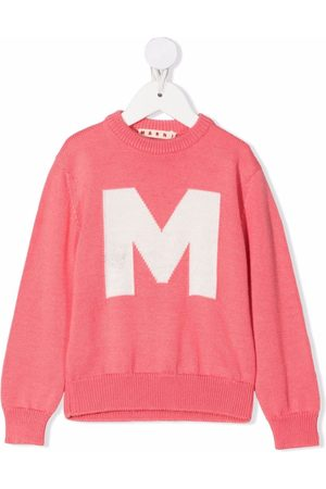 Marni Girls Jumpers - Embroidered logo crew neck jumper