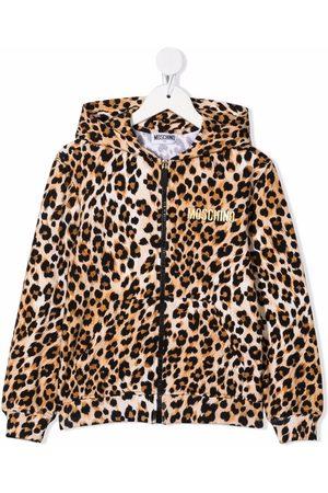 Moschino Boys Hoodies - Leopard-print cotton hoodie