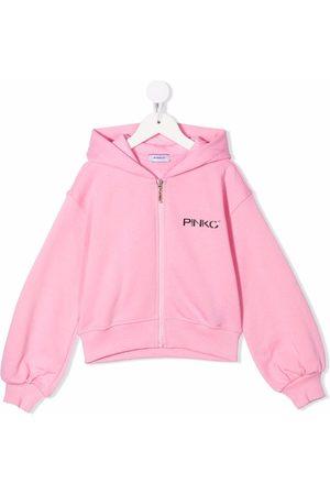 Pinko Kids Logo-print cotton hoodie