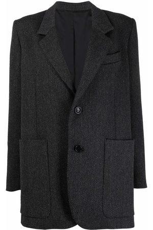 Ami Single-breasted herringbone coat