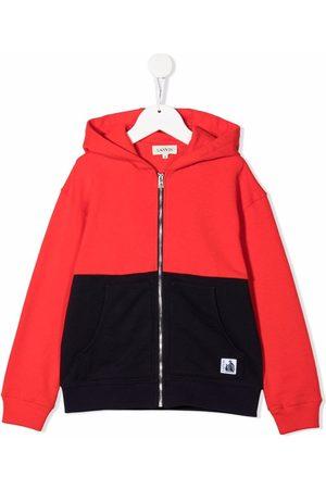 Lanvin Boys Hoodies - Two-tone cotton zip-up hoodie