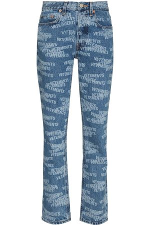 Vetements All over logo straight jeans