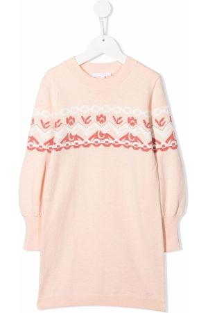Chloé Intarsia-knit long-sleeve dress