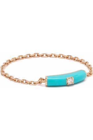 DJULA 14kt rose gold Marbella diamond enamel chain ring