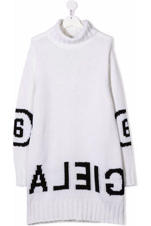 MM6 KIDS Girls Knitted Dresses - Logo-print knit dress