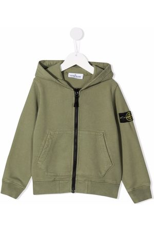 Stone Island Boys Hoodies - Logo-patch zipped hoodie