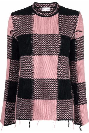 RED Valentino Women Jumpers - Grid-check frayed jumper