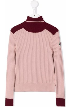Moncler Girls Jumpers - Two-toned high-neck jumper