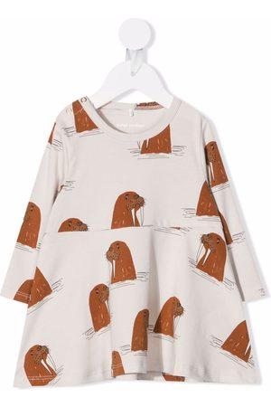 Mini Rodini Walrus-print flared dress
