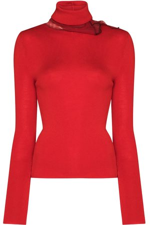 Y / PROJECT Women Jumpers - Tulle-detail roll-neck jumper