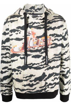 Roberto Cavalli Tiger-print logo hoodie