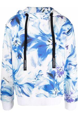 Roberto Cavalli Painted floral-print hoodie