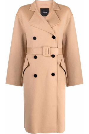 THEORY Belted double-breasted mid-length coat
