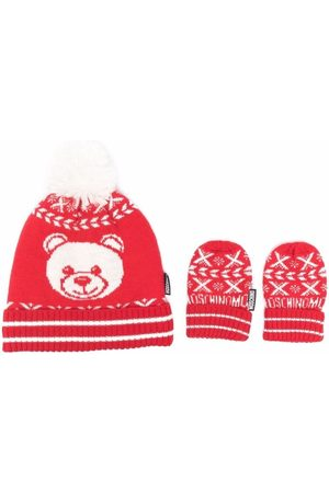 Moschino Knitted teddy hat and glove set