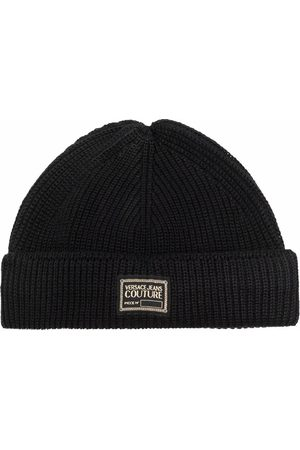 VERSACE Logo patch ribbed-knit beanie
