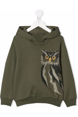 Il gufo Owl-embroidered cotton hoodie