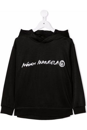 MM6 KIDS Logo-print fleece hoodie