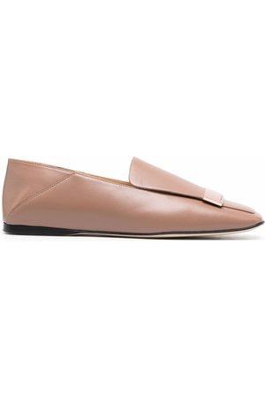 Sergio Rossi Square-toe leather loafers