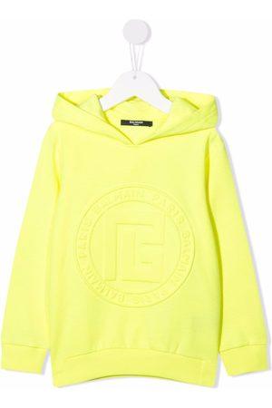 Balmain Logo-embossed cotton hoodie