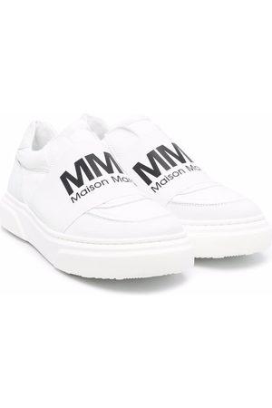 MM6 KIDS TEEN logo-print slip-on sneakers