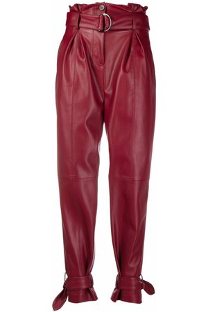 Karl Lagerfeld Belted faux-leather trousers