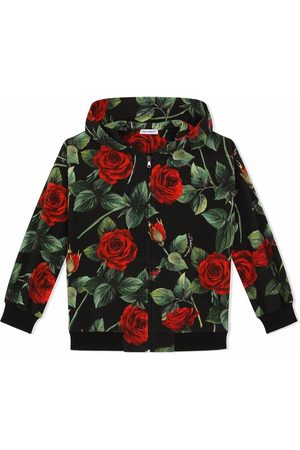 Dolce & Gabbana Rose-print zipped hoodie