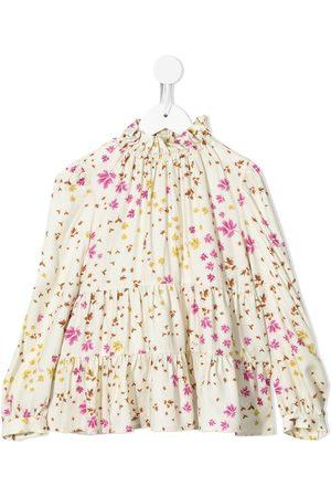 Il gufo Floral-print panelled blouse